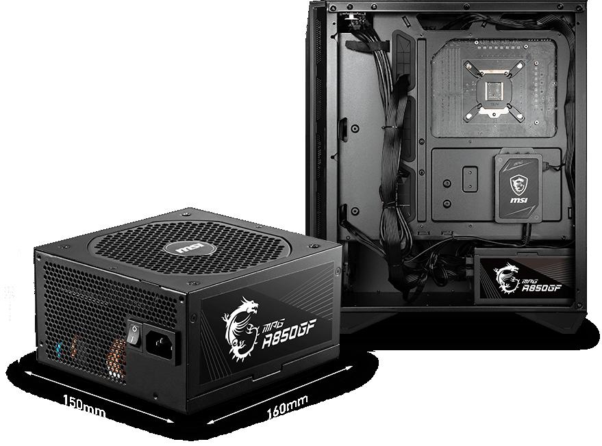 MSI MPG A850GF đảm bảo vừa vặn và thoải mái