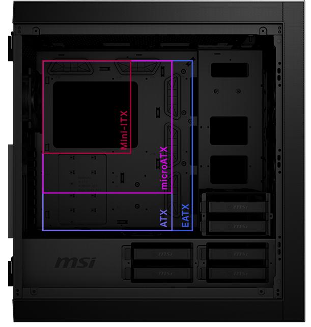 Vỏ Case MSI MPG SEKIRA 500G Thiết kế không gian rộng rãi