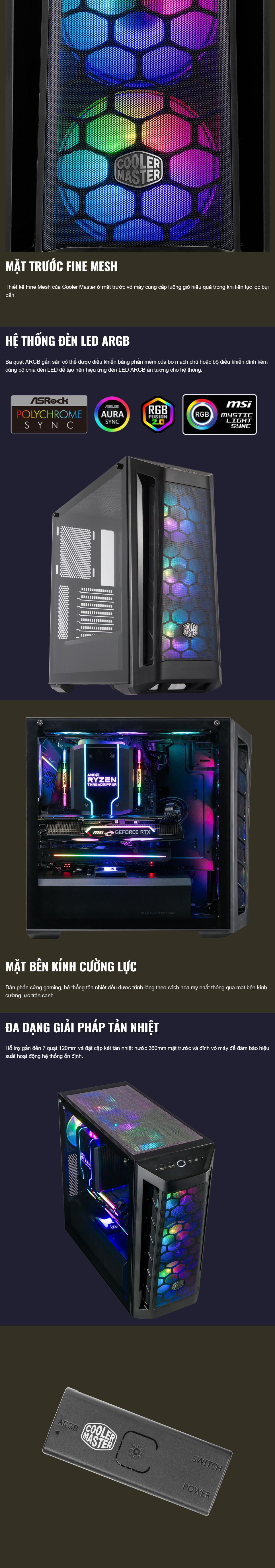 Vỏ máy tính Case Cooler Master Masterbox MB511 ARGB