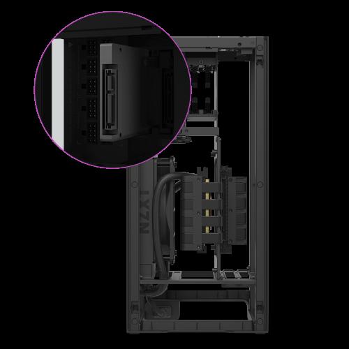 NZXT H1 Matte Black có thiết kế không có khay SSD
