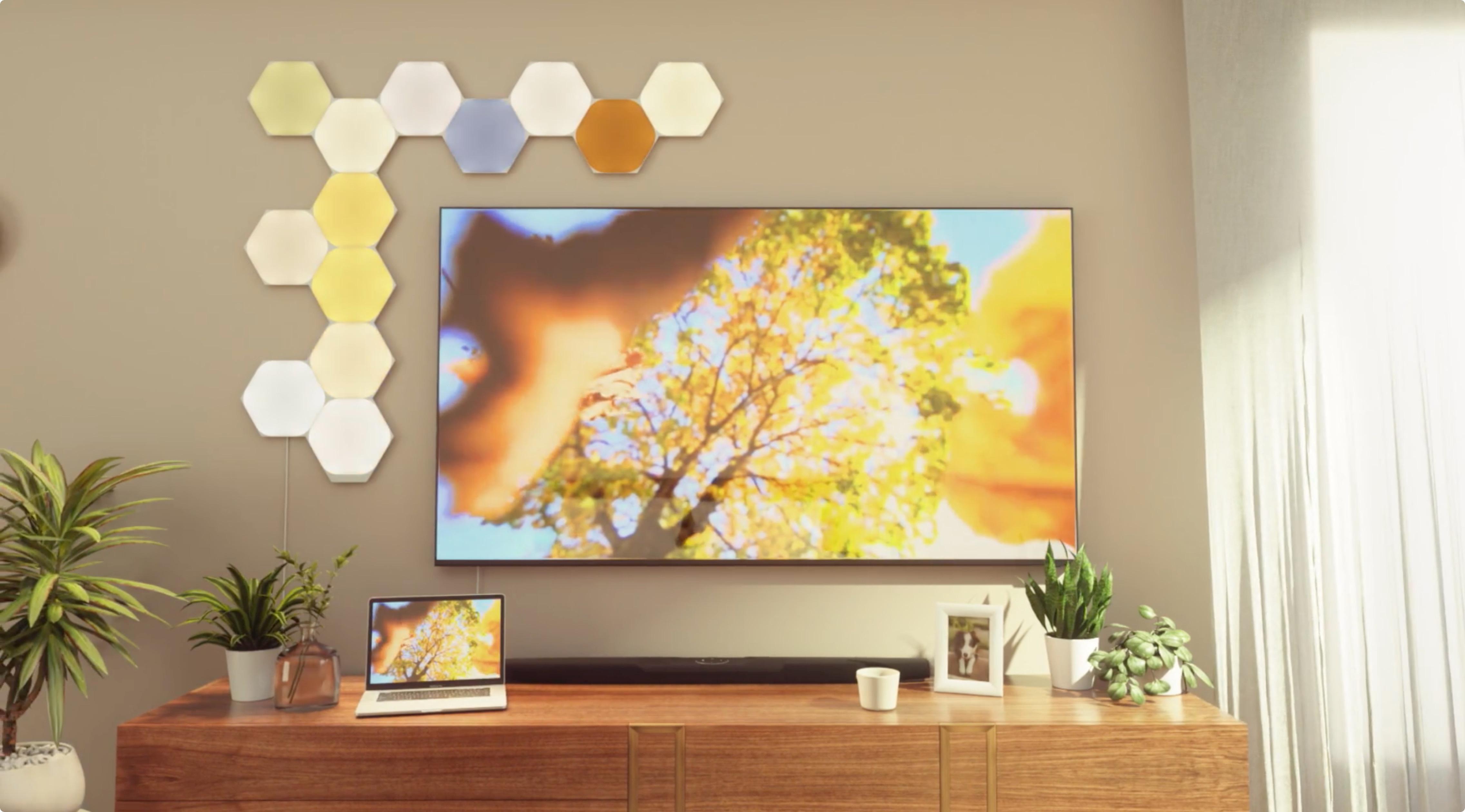 Nanoleaf Shapes Hexagon Smarter Kit phản chiếu trên bảng điều khiển