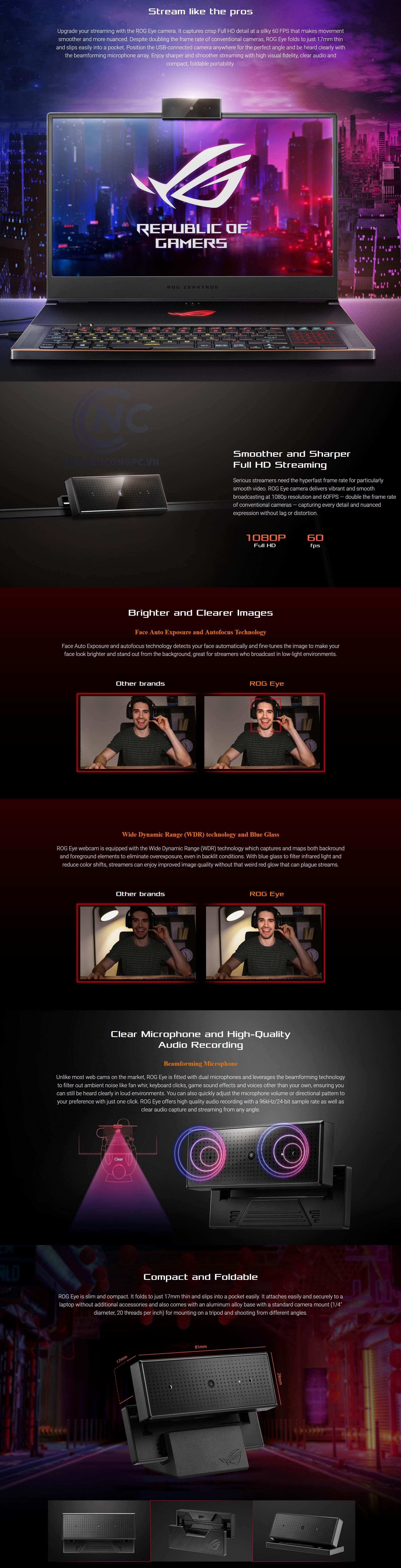 Webcam ASUS ROG Eye 1080p 60fps
