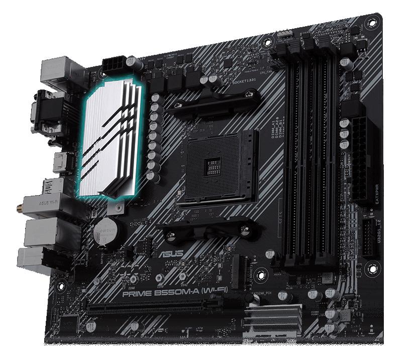 Bo mạch chủ B550M-A WI-FI có Tản nhiệt VRM và miếng đệm nhiệt