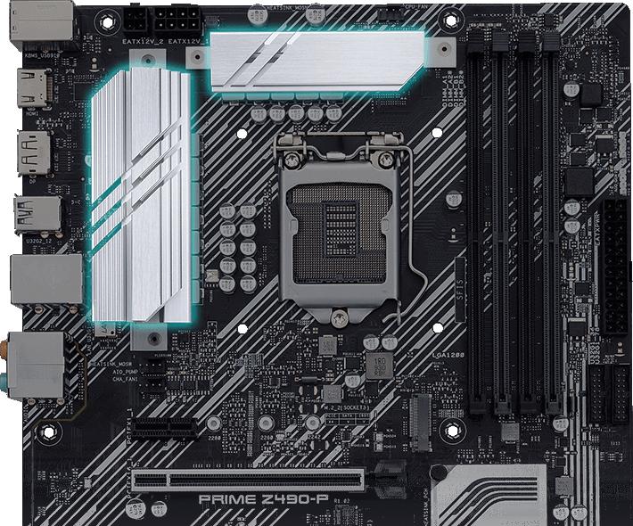 PRIME Z490-P có hai tản nhiệt VRM lớn