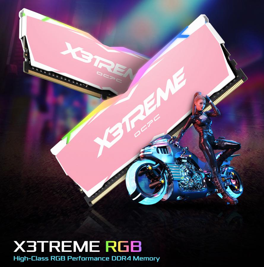 RAM OCPC X3TREME RGB AURA 16GB (2x8GB) Bus 3200 C16 DDR4 Pink
