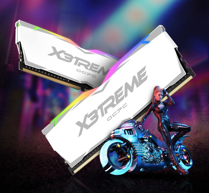 OCPC X3TREME RGB White có thiết kế góc cạnh và sắc nét