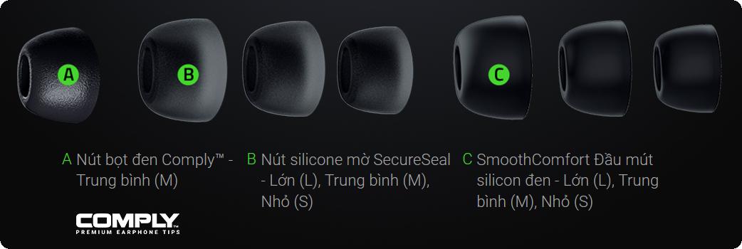 6 bộ đầu mút silicone đi kèm với Tai Nghe Razer Hammerhead True Wireless Pro