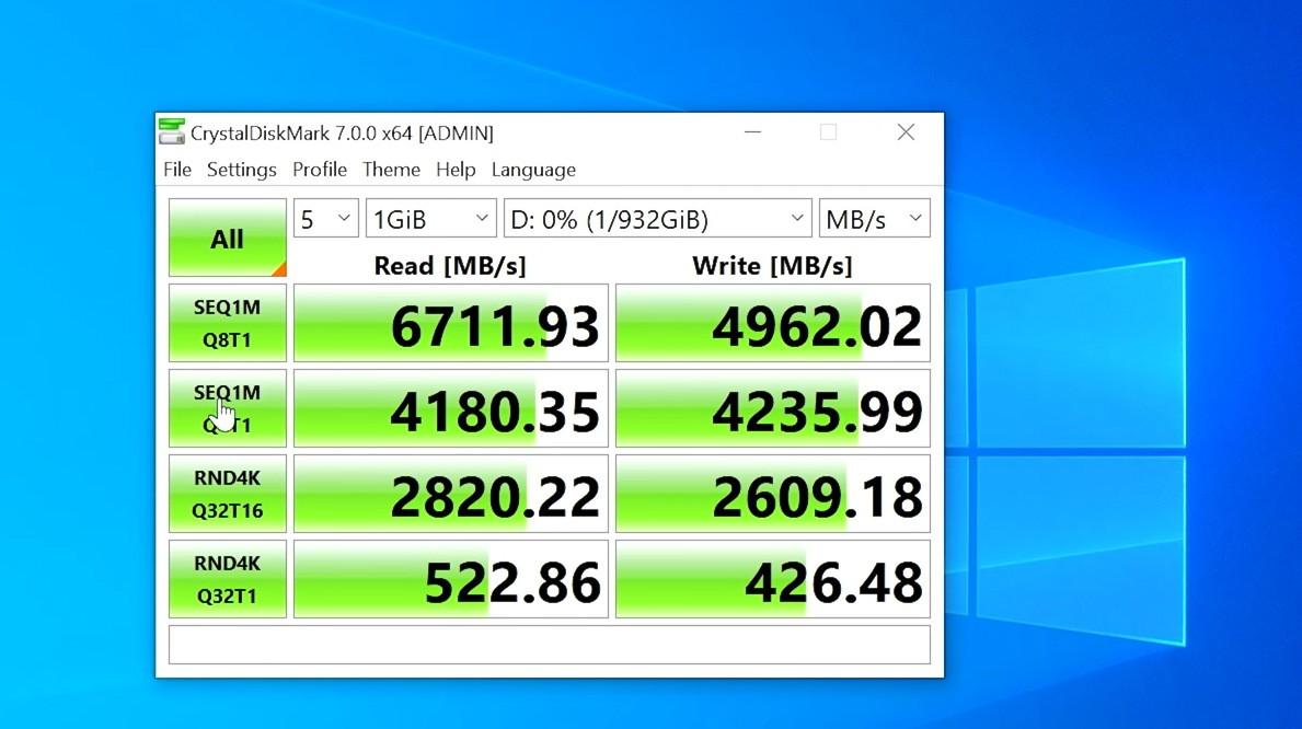 980 PRO 1TB tốc độ đọc và ghi