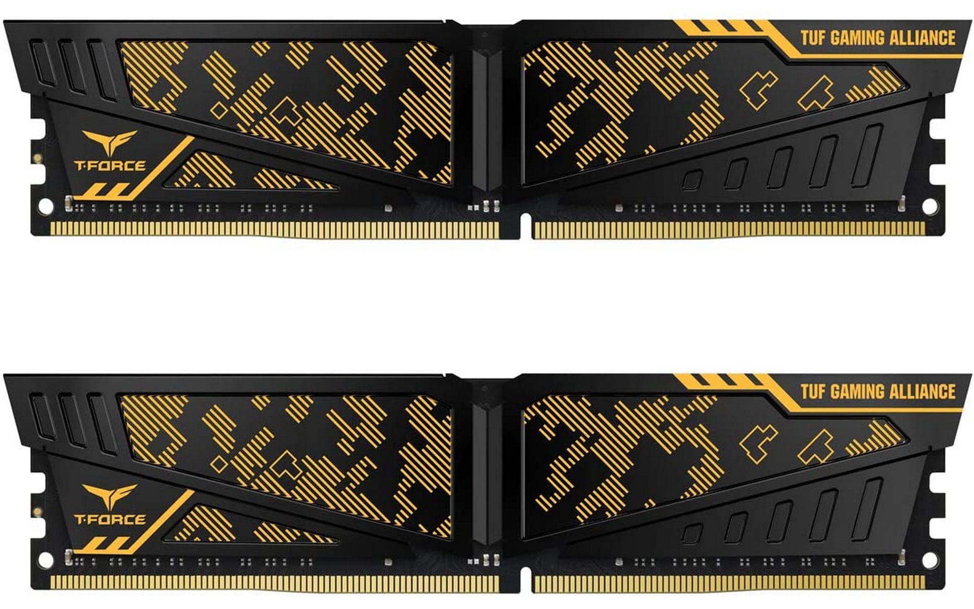 Khu vực tản nhiệt của RAM TEAMGROUP T-Force Vulcan TUF Gaming Alliance Yellow 32GB