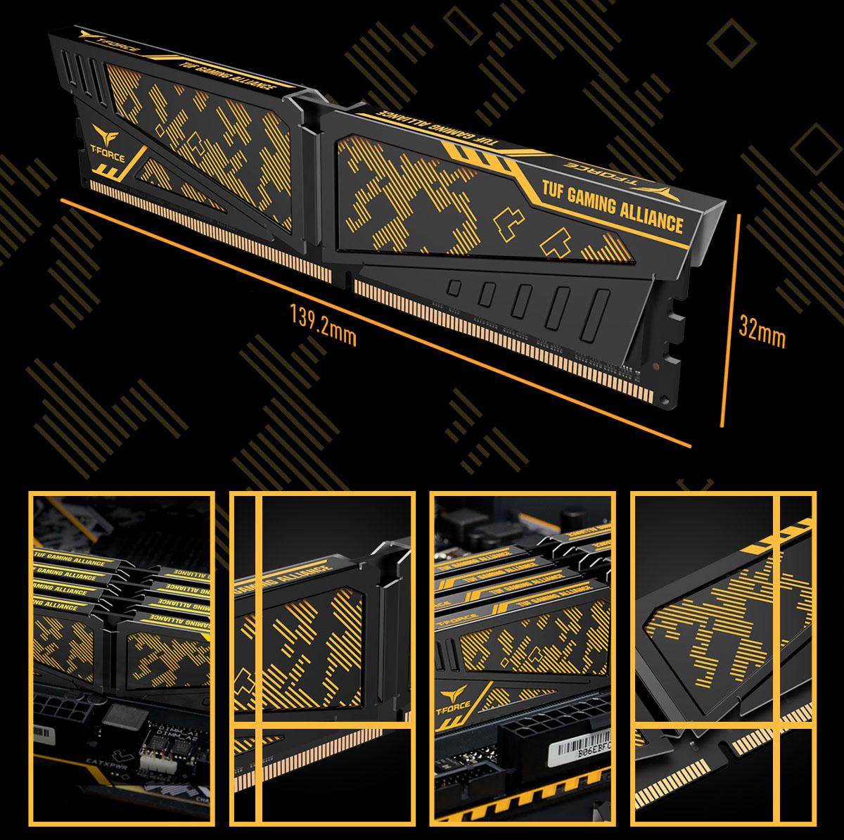 Khu vực tản nhiệt của RAM TEAM T-Force Vulcan TUF Gaming Alliance Yellow 8GB (8GBx1) Bus 3200 CL16 DDR4
