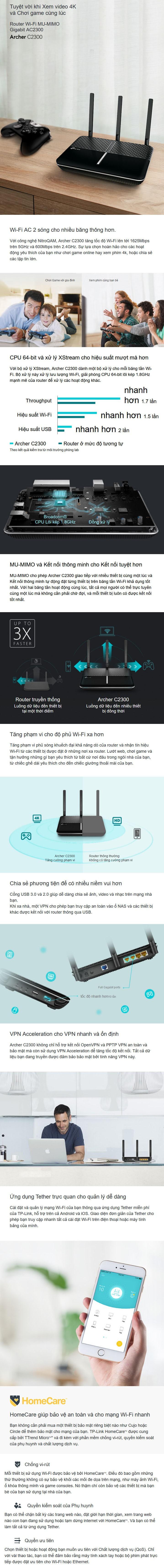 Bộ phát WIFI Router TP-Link Archer C2300 Băng Tần Kép AC2300