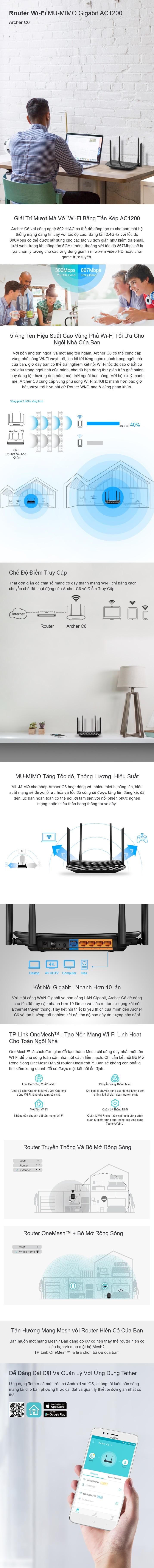 Bộ phát WIFI Router TP-Link Archer C6 Băng Tần Kép AC1200