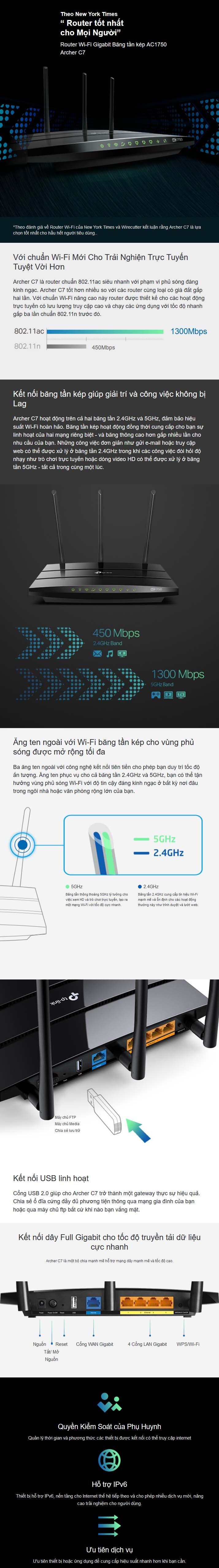 Bộ phát WIFI Router TP-Link Archer C7 Băng Tần Kép AC1750