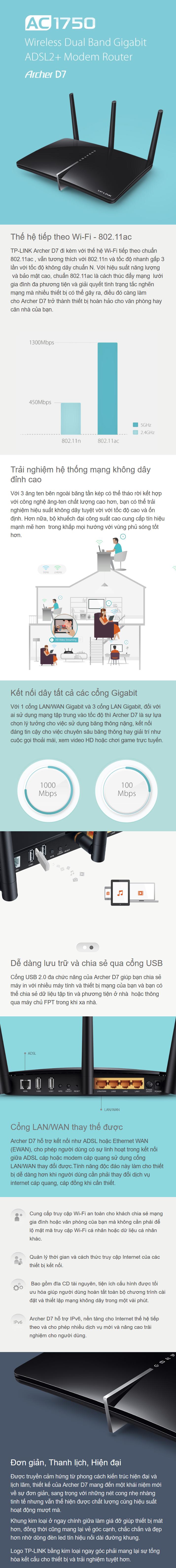 Bộ phát WIFI Router TP-Link Archer D7