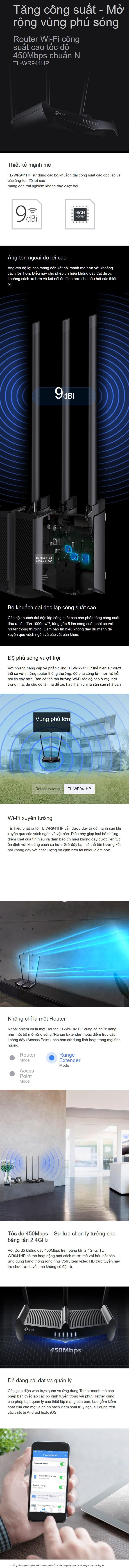 Bộ phát WIFI Router TP-Link TL-WR941HP 450Mbps chuẩn N