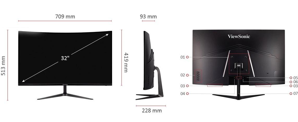 Viewsonic VX3218-PC-MHD size and io