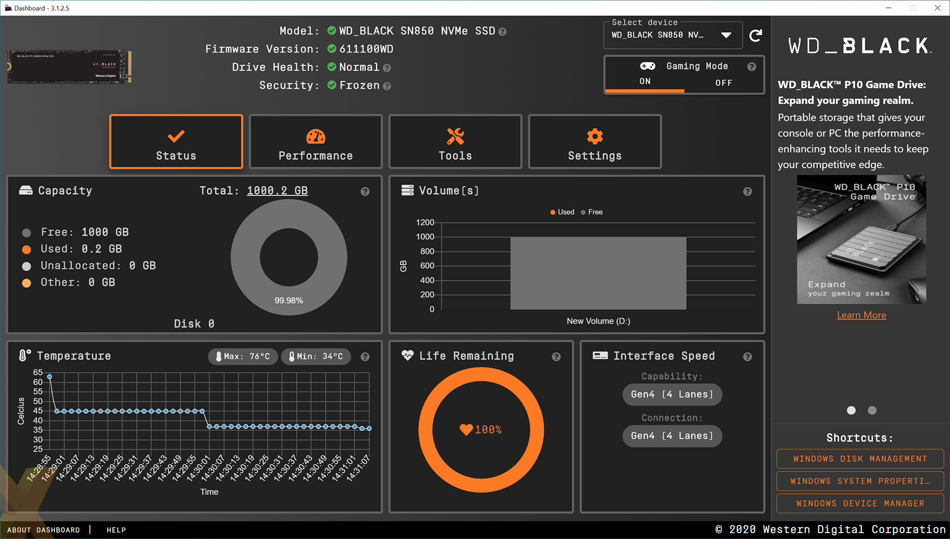 Western Digital Dashboard