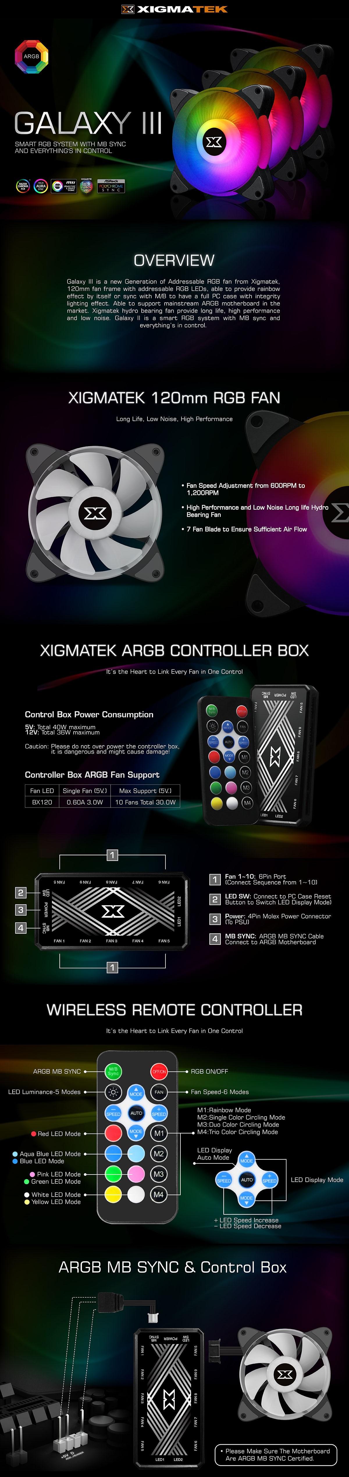 Bộ 3 quạt XIGMATEK GALAXY III ESSENTIAL BX120 ARGB EN45433