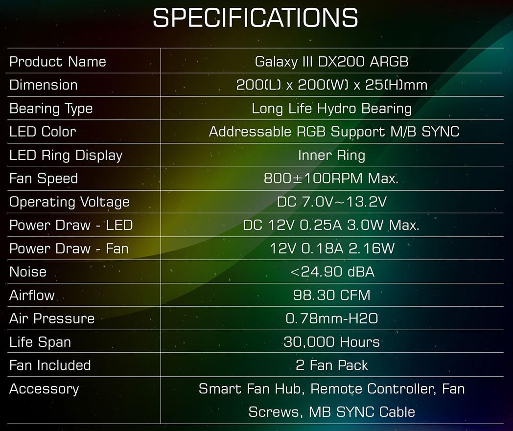 Quạt Xigmatek Galaxy III DX200 ARGB Spec