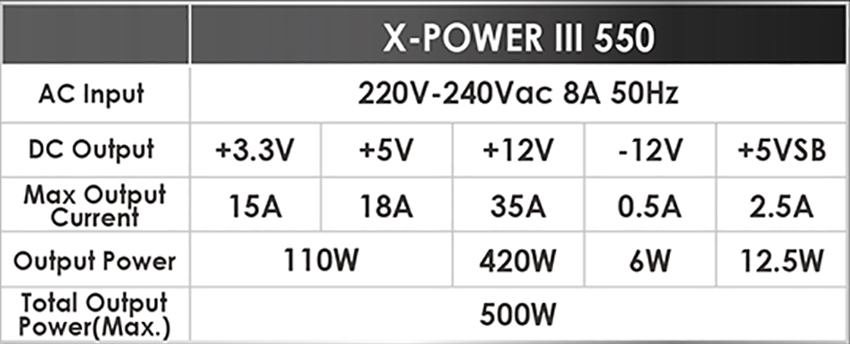 Xigmatek X-Power III 550 Power