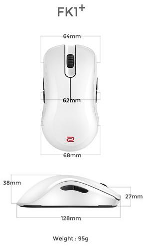 Kích thước Chuột Zowie FK1+ White
