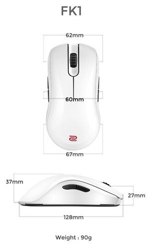 Kích thước Chuột Zowie FK1 White