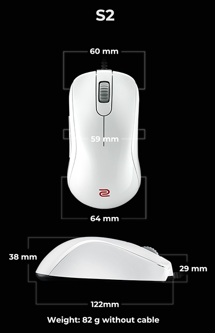 Kích thước Zowie S2 White