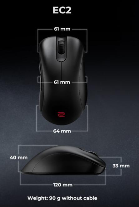 Kích thước của chuột Zowie EC2