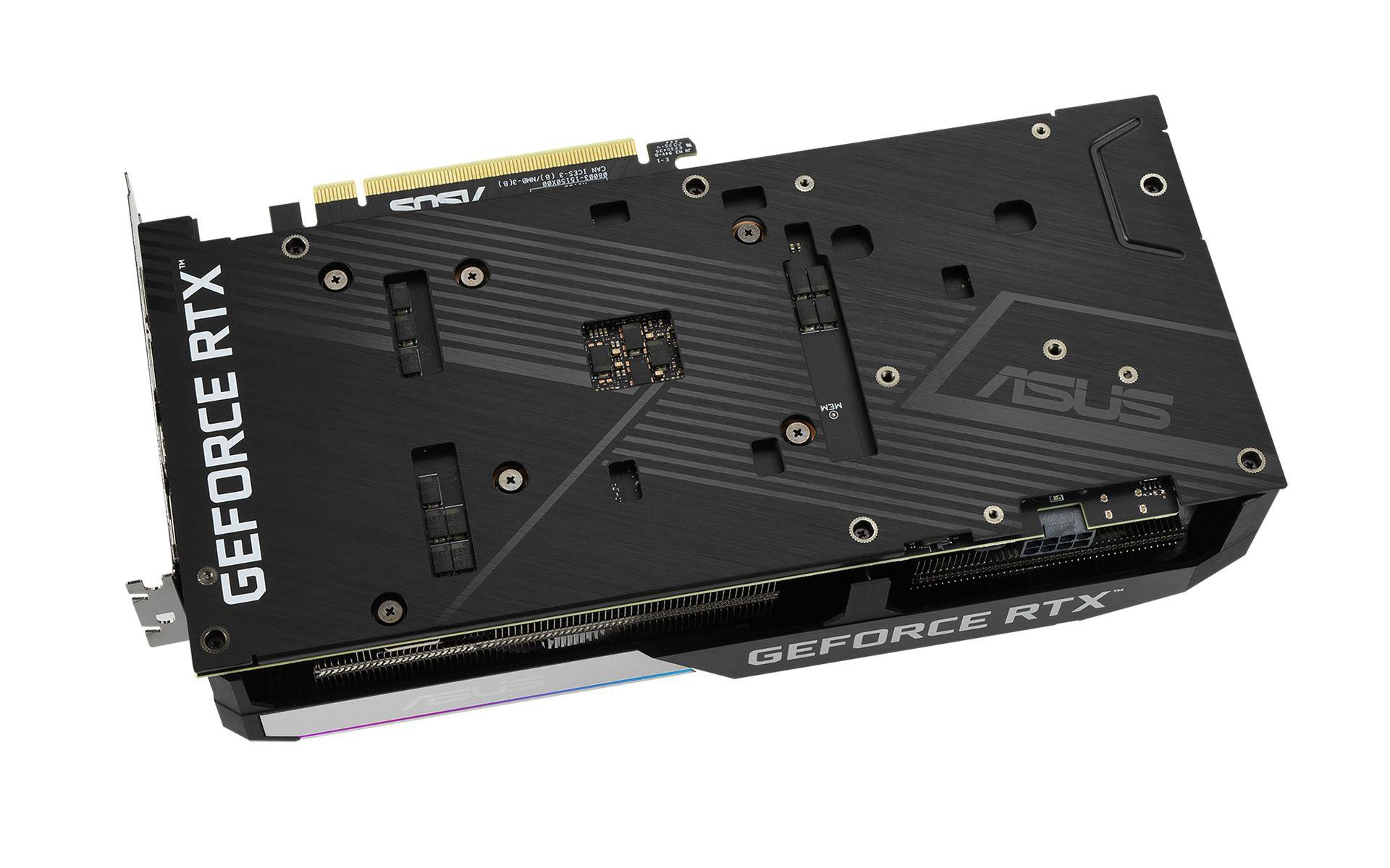 ASUS DUAL RTX 3060 Ti OC 8GB có PCB được gia cố bởi một tấm nhôm phía sau
