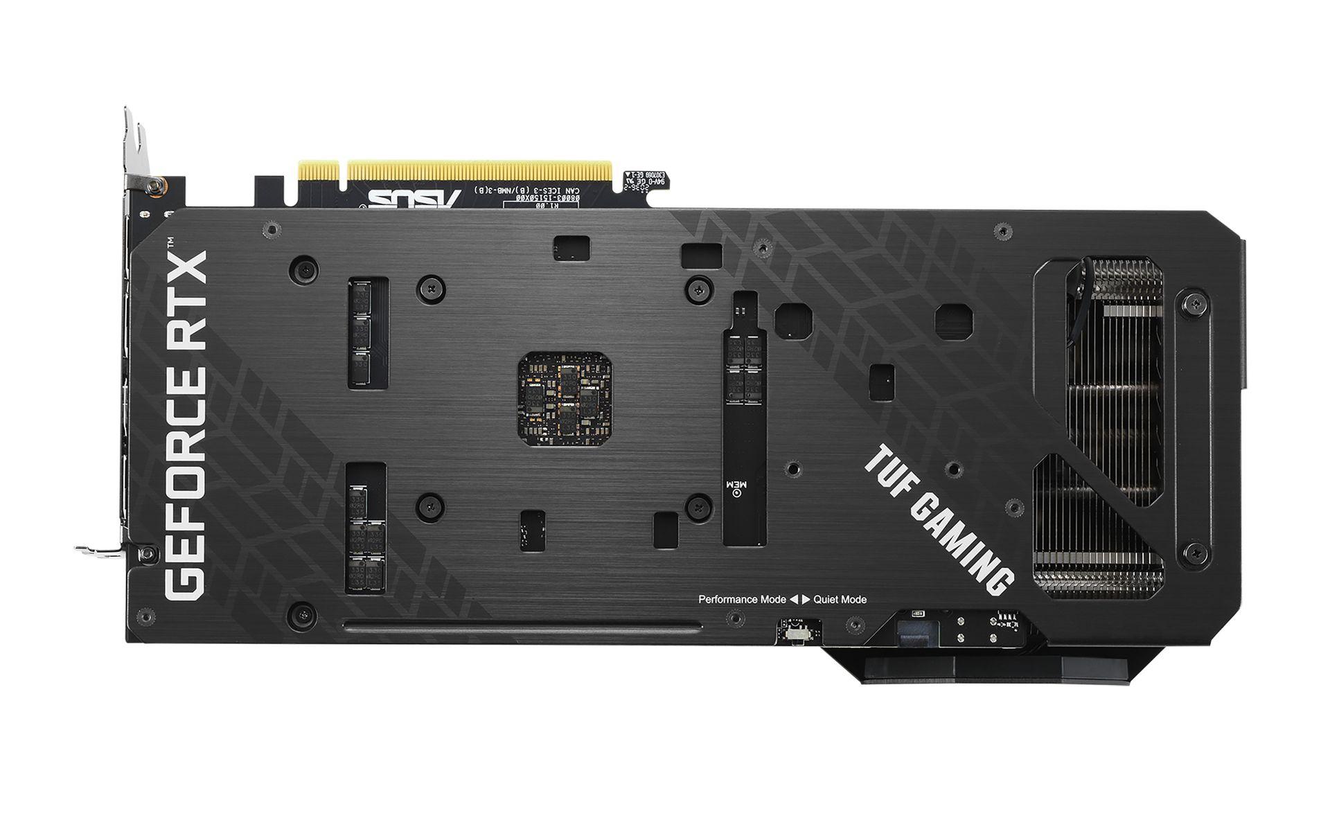 Mặt sau của TUF Gaming RTX 3060Ti 8G