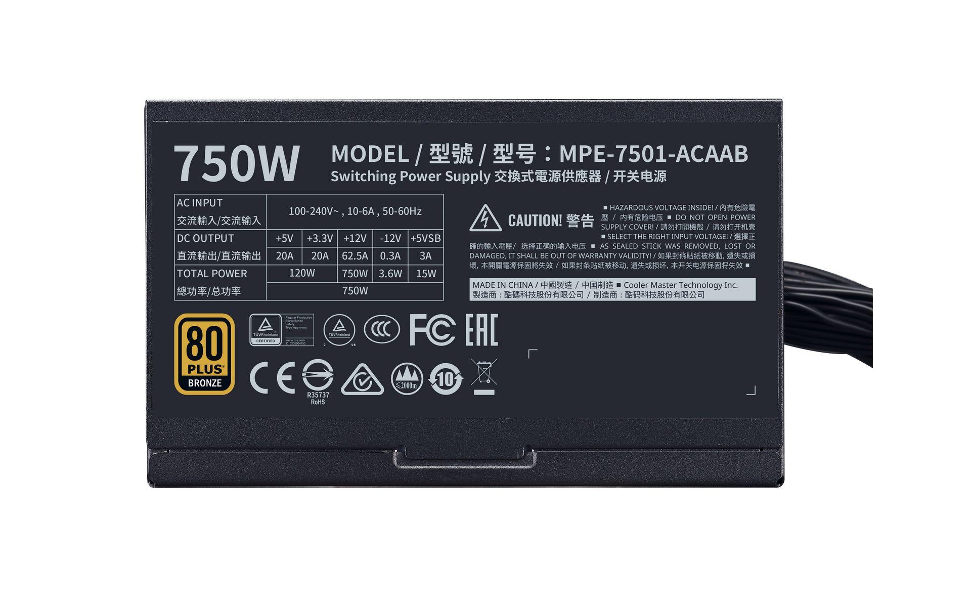 Nguồn máy tính Cooler Master MWE 750 BRONZE V2