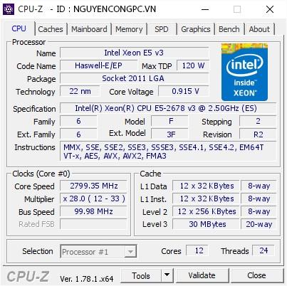 CPU Intel Xeon E5 2678 v3