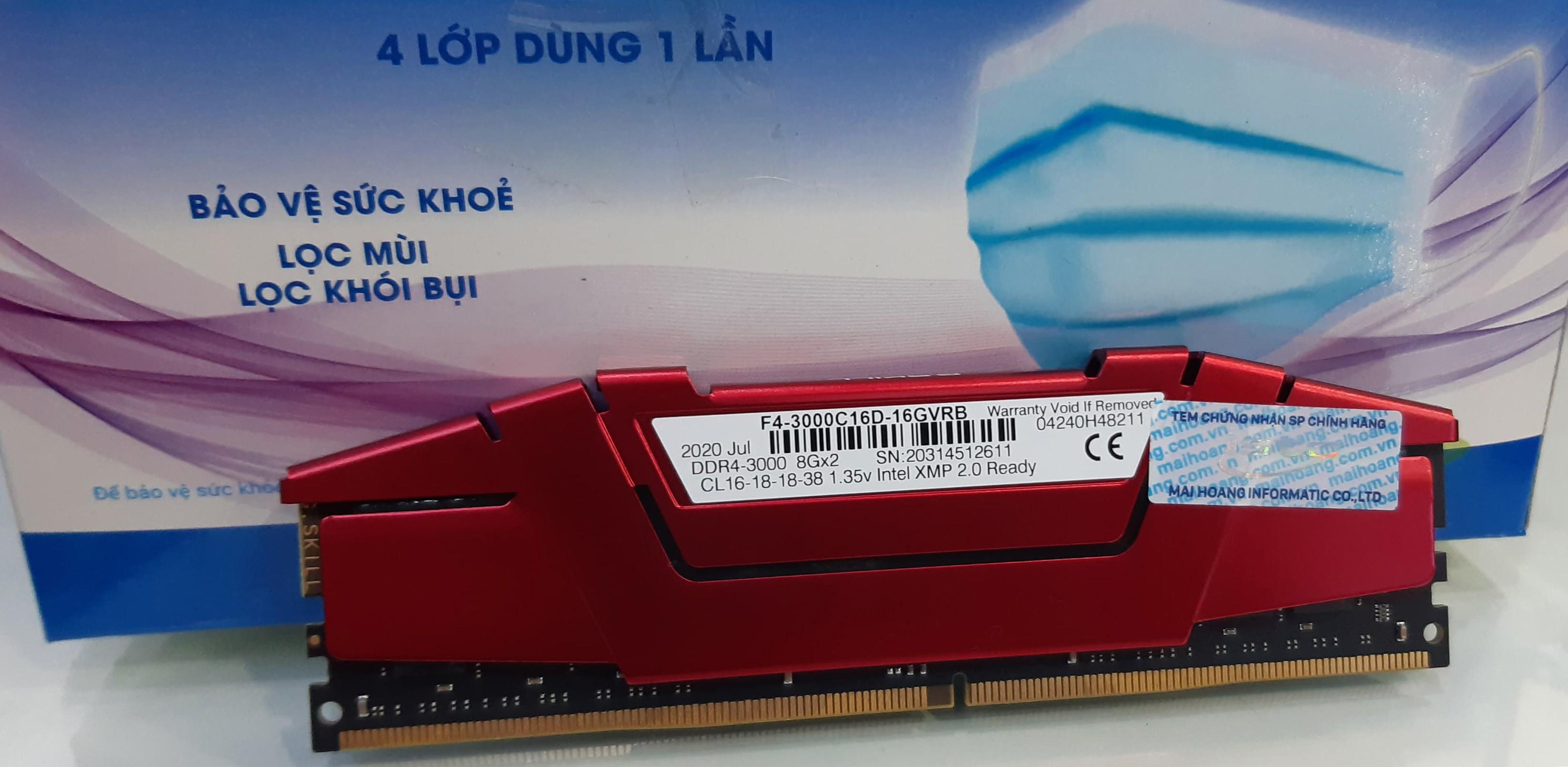 RAM G.Skill RIPJAWS V 8GB (8GBx1) Bus 3000MHz Cas16