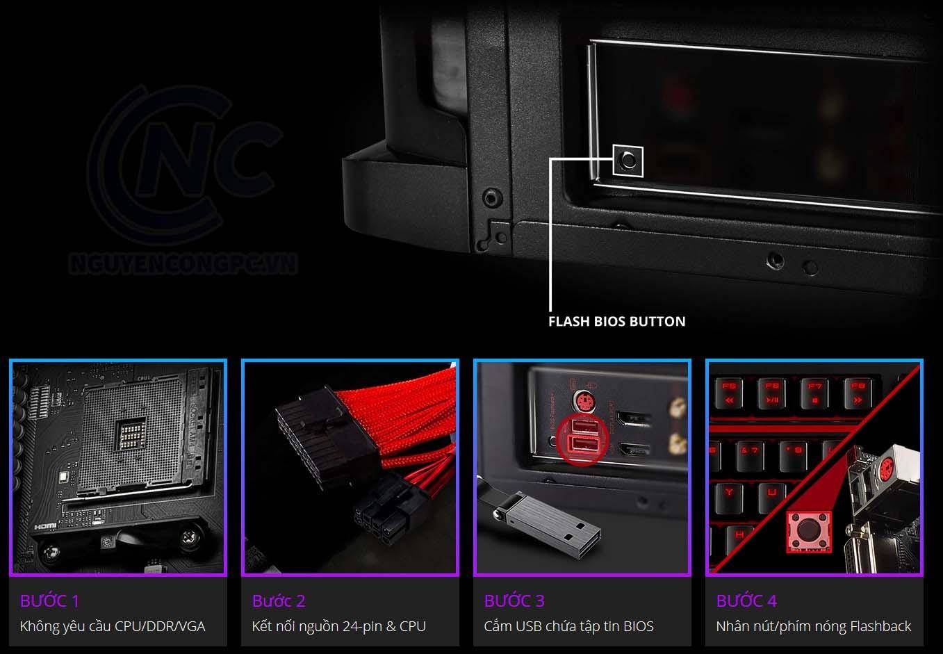 Nút Flash BIOS với chức năng ClearCMOS được tối ưu