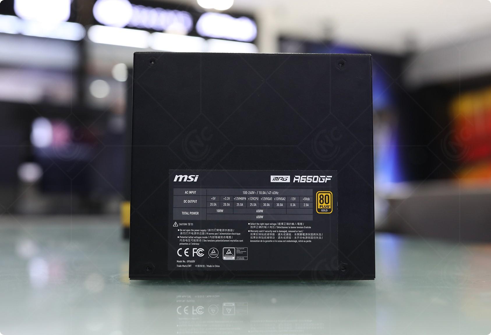 MSI MPG A650GF được chứng nhận 80 PLUS Gold