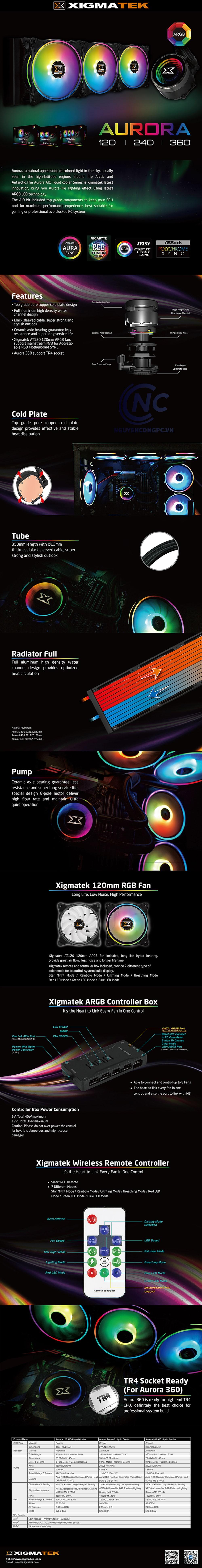 AIO Xigmatek Aurora 360 RGB spec