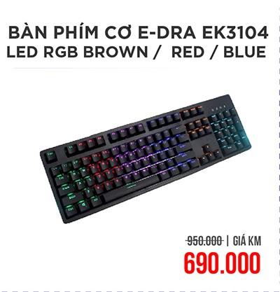 Bàn phím cơ E-DRA EK3104 led RGB Blue switch