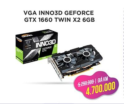 CARD MÀN HÌNH VGA INNO3D GEFORCE GTX 1660 TWIN X2 6GB