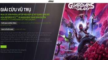 Mua laptop MSI nhận code game Marvel's Guardians of Galaxy