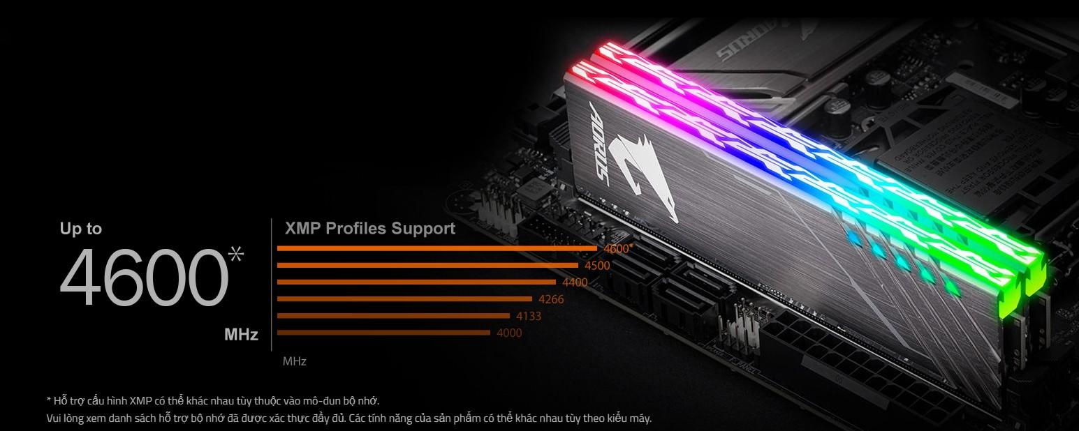 Hỗ trợ cho DDR4 XMP lên đến 4600MHz và hơn thế nữa.